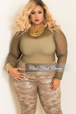 New Plus Size Sheer Top with Long Sleeves in Olive Green