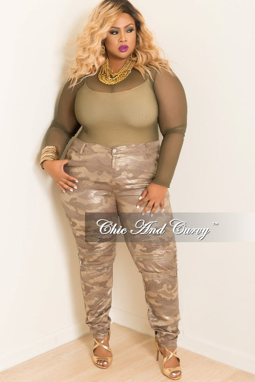 Final Sale Plus Size Camo Moto Skinny Zipper Pants in Camouflage and Gold Print