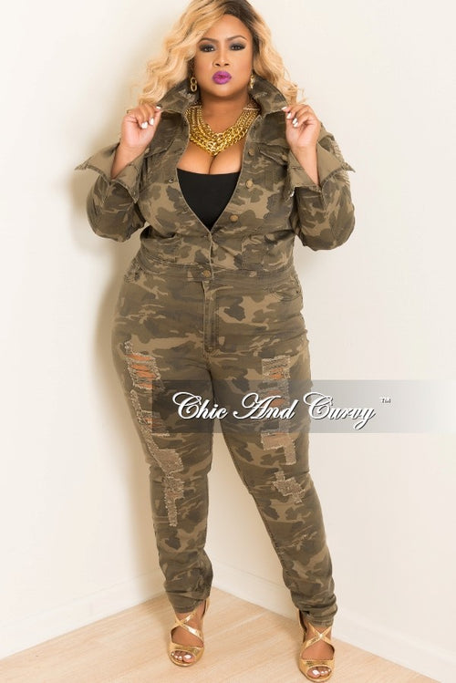 35% Off Sale - Final Sale  Plus Size 2 Piece Jacket and Pants Distressed Set in Camo Camouflage Print