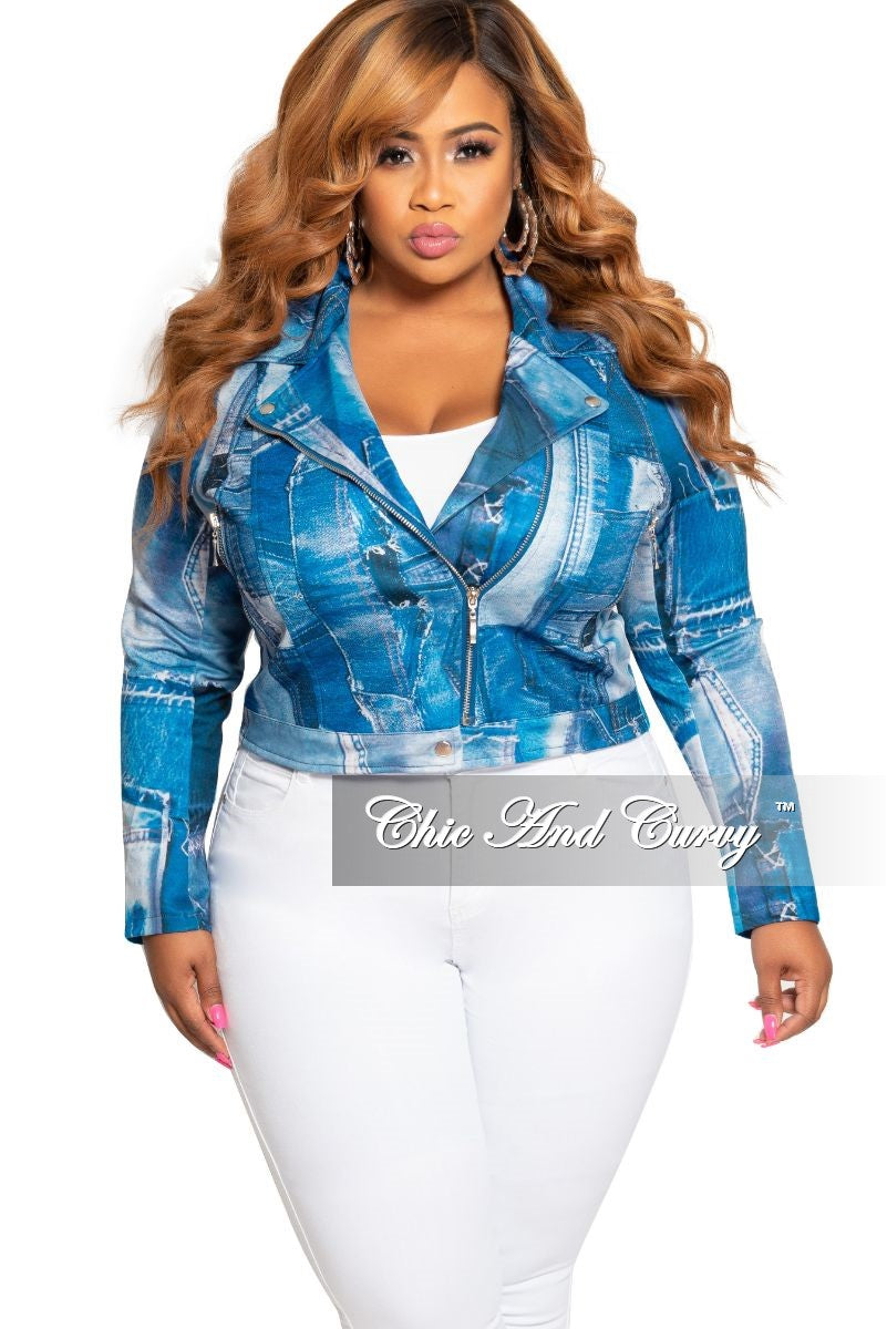 New Plus Size Collared Zip Jacket in Denim Patch Print