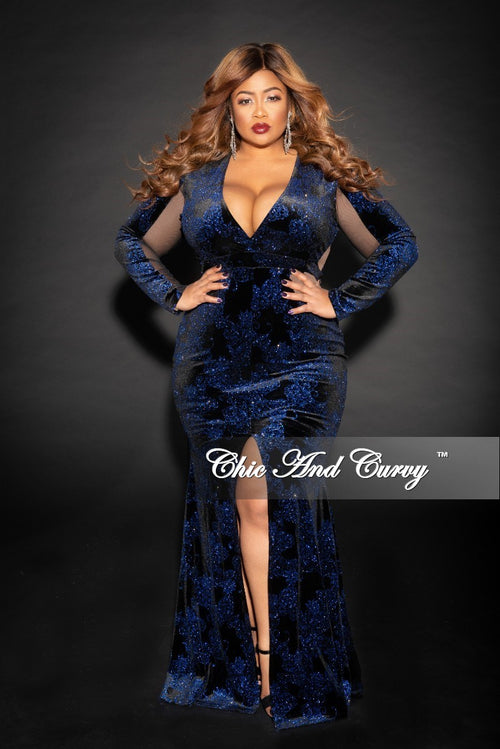 Final Sale Plus Size Glitter Velvet Gown with Front Slit and Mesh Trim in Black and Royal Blue