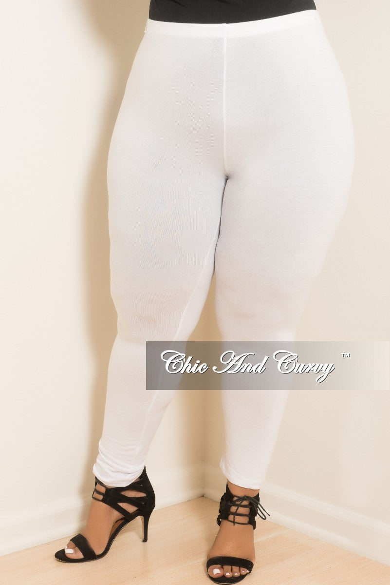 Final Sale Plus Size Leggings in White