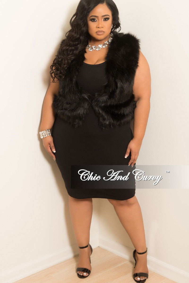 Final Sale Plus Size Fur Vest with Satin Lining in Black