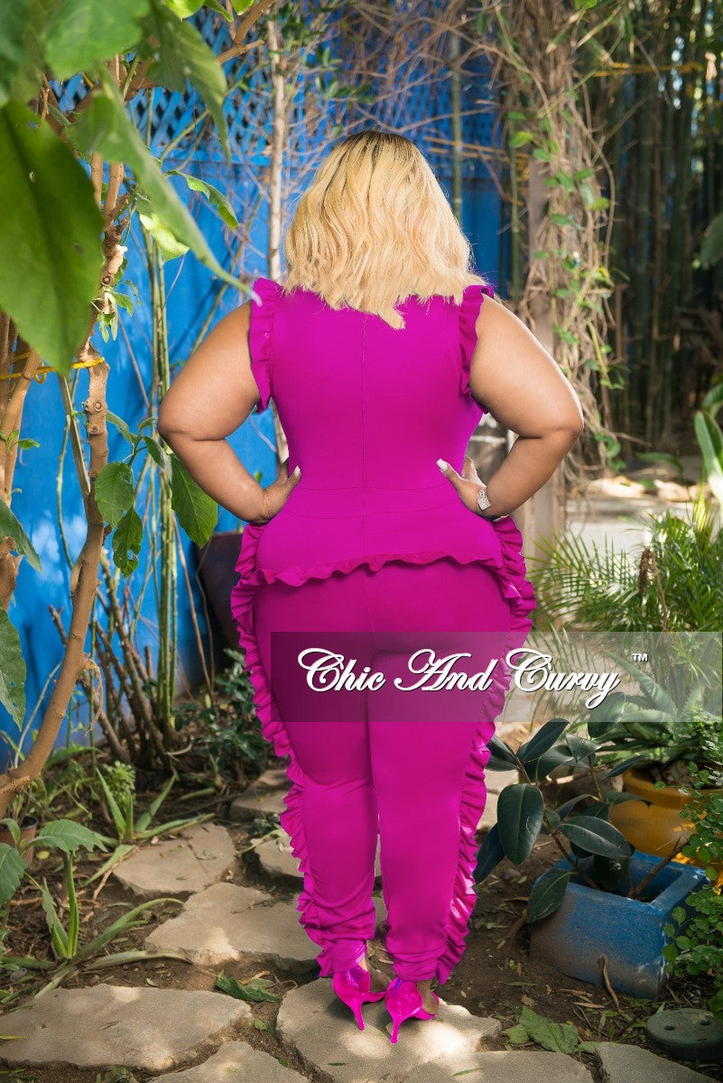 Final Sale Plus Size Jumpsuit with Ruffle Trim and Back Zipper in Hot Pink