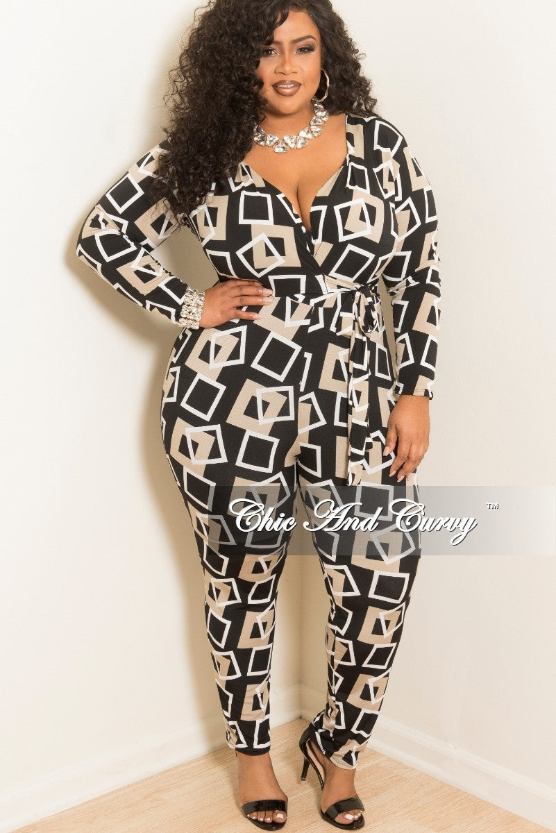 New Plus Size Faux Wrap Jumpsuit with Attached Tie in Black White and Tan Print