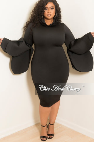 c1728f8a55c New Plus Size BodyCon Dress with Ruffle Neckline and Peplum Sleeves in  Black Scuba