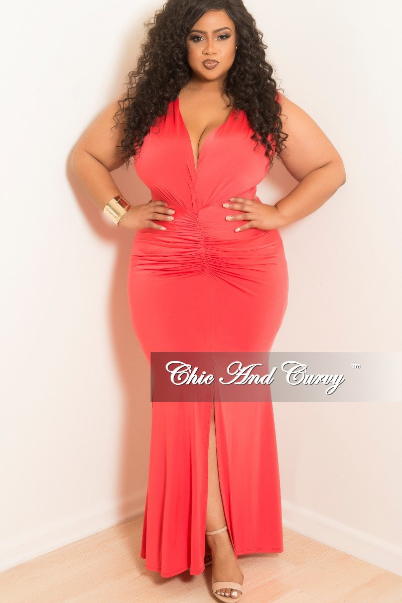 Final Sale Plus Size Sleeveless Deep V-Neck Dress with Ruched Center and Front Slit in Orange