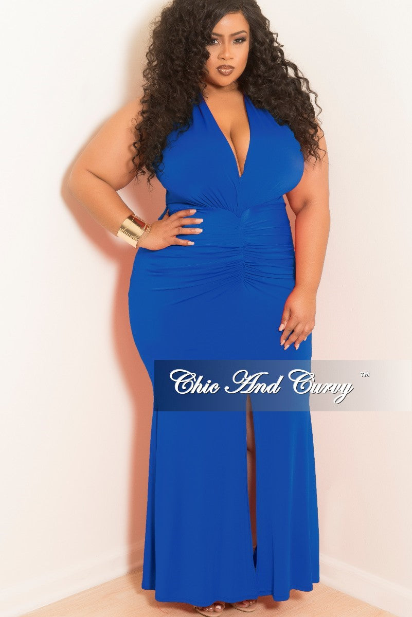 New Plus Size Sleeveless Deep V-Neck Dress with Ruched Center and Front Slit in Royal Blue