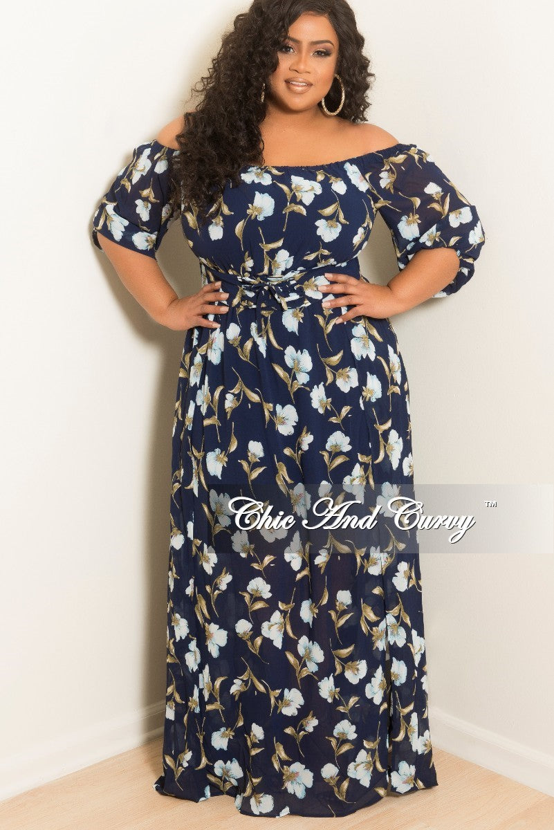 New Plus Size Off the Shoulder Dress with Front Slits in Navy Floral Print