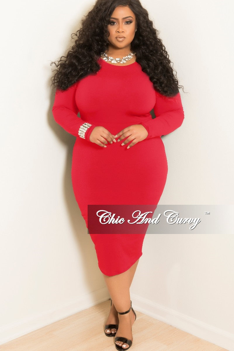 d87614ff27bb Final Sale Plus Size Long Sleeve Knee Length BodyCon Dress in Red – Chic  And Curvy