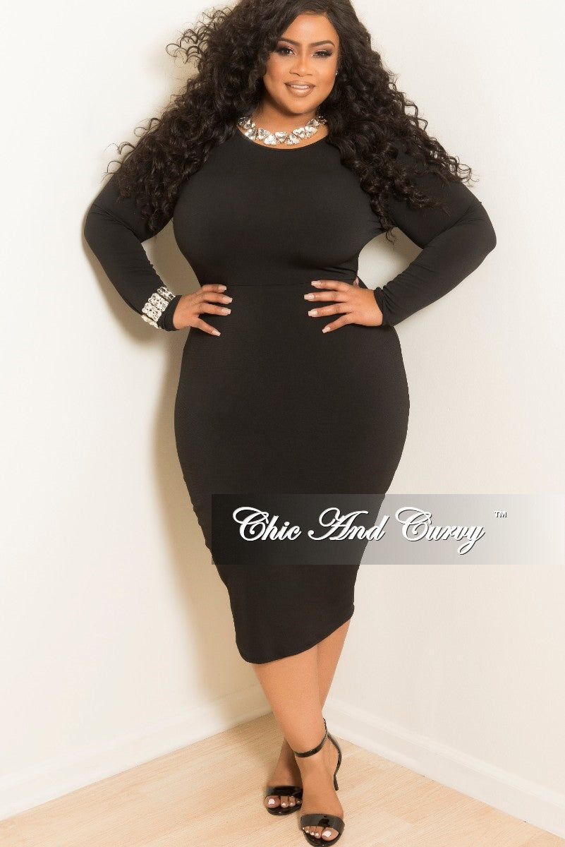 New Plus Size Long Sleeve Knee Length BodyCon Dress in Black