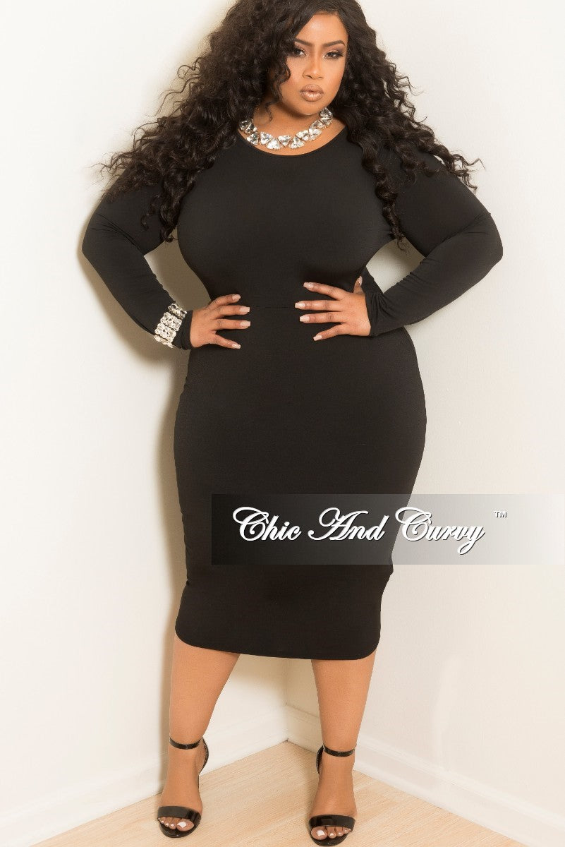 New Plus Size Long Sleeve Knee Length Bodycon Dress In Black Chic