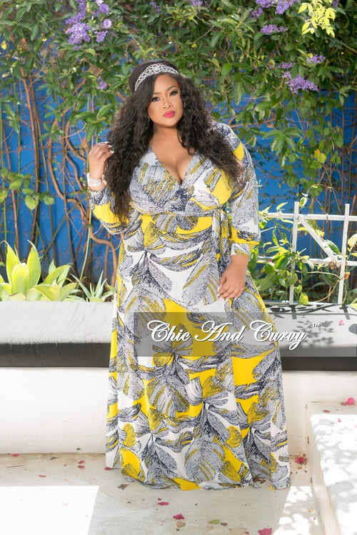 New Plus Size Faux Wrap Dress with Attached Tie in Yellow White and Navy Leaf Print