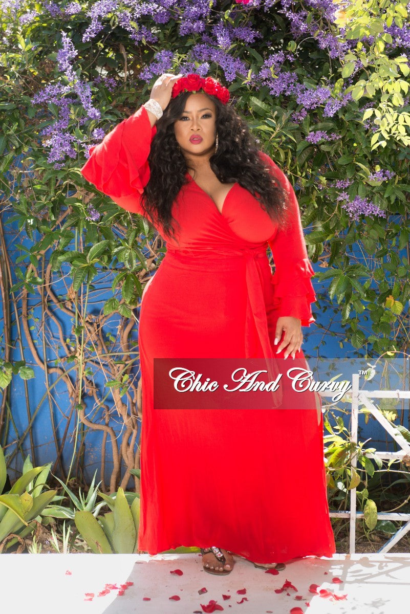 New Plus Size 2-Piece Faux Wrap Tie Top with Ruffle Sleeve and Skirt Set with Side Slit in Red