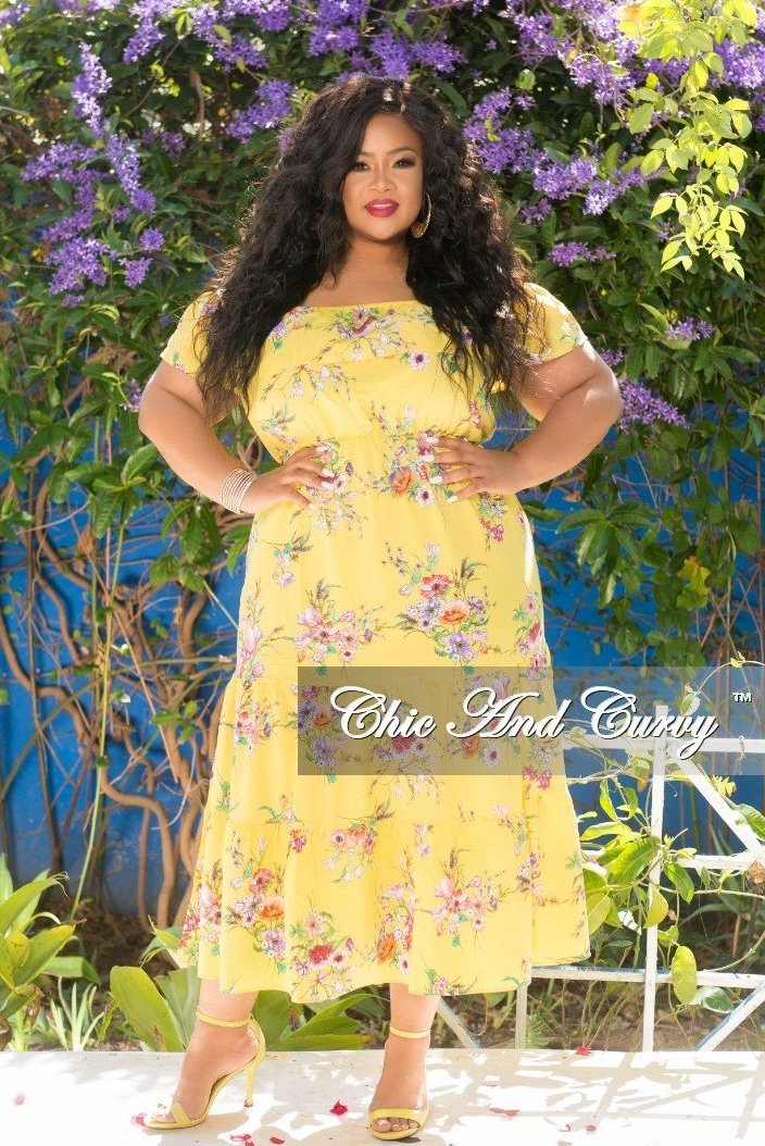 0548754896 Final Sale Plus Size Sleeveless Floral Ruffle Dress in Yellow – Chic ...