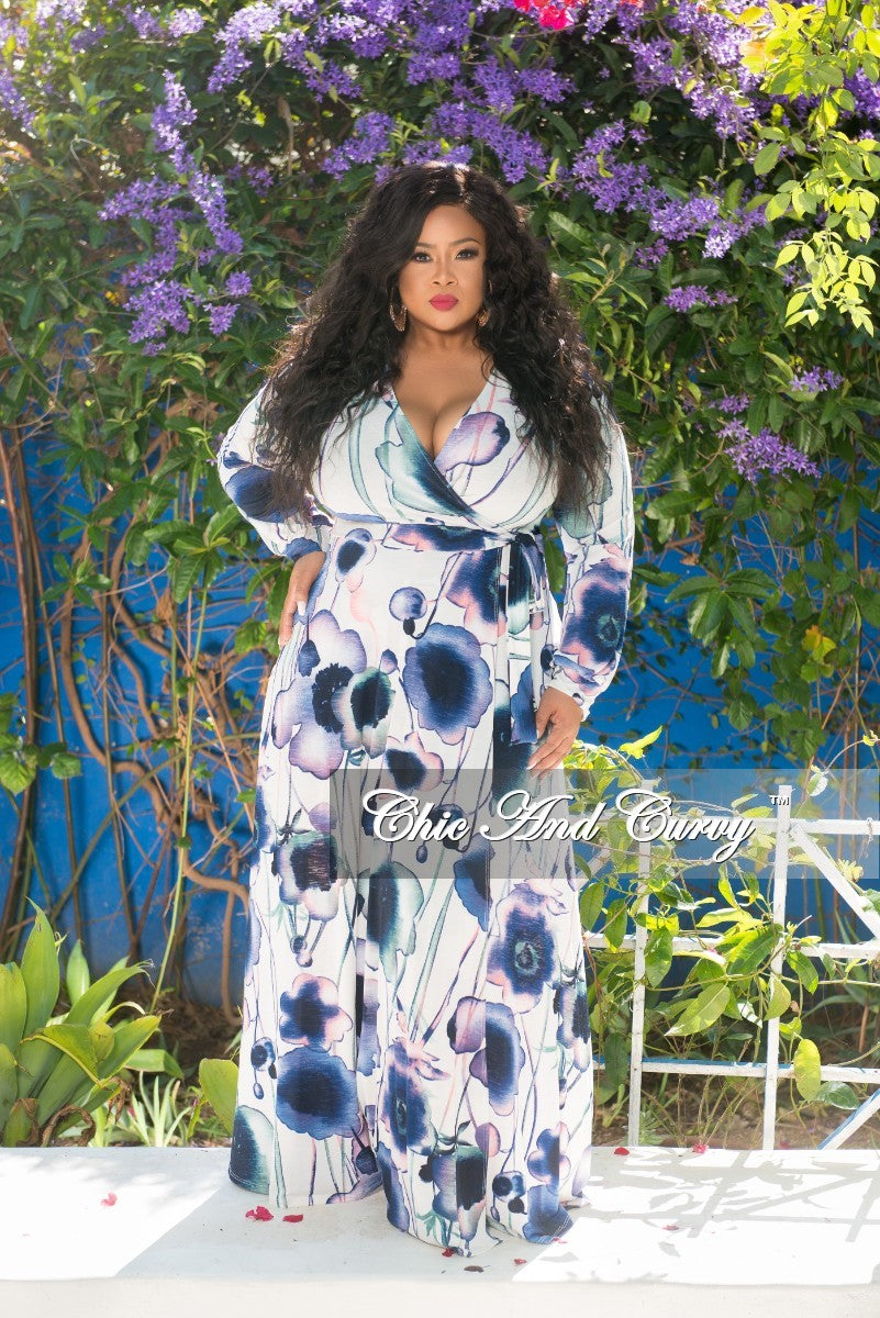 New Plus Size Long Sleeve Faux Wrap Dress in Navy, Purple and White