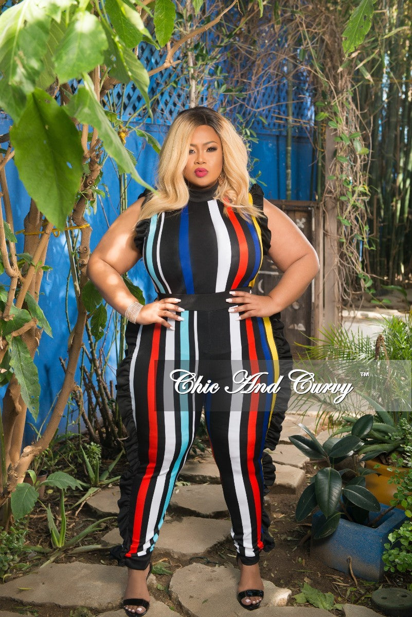 Final Sale Plus Size Striped Jumpsuit with Ruffle Trim in Black, Red, Teal, White, Yellow and Royal Blue