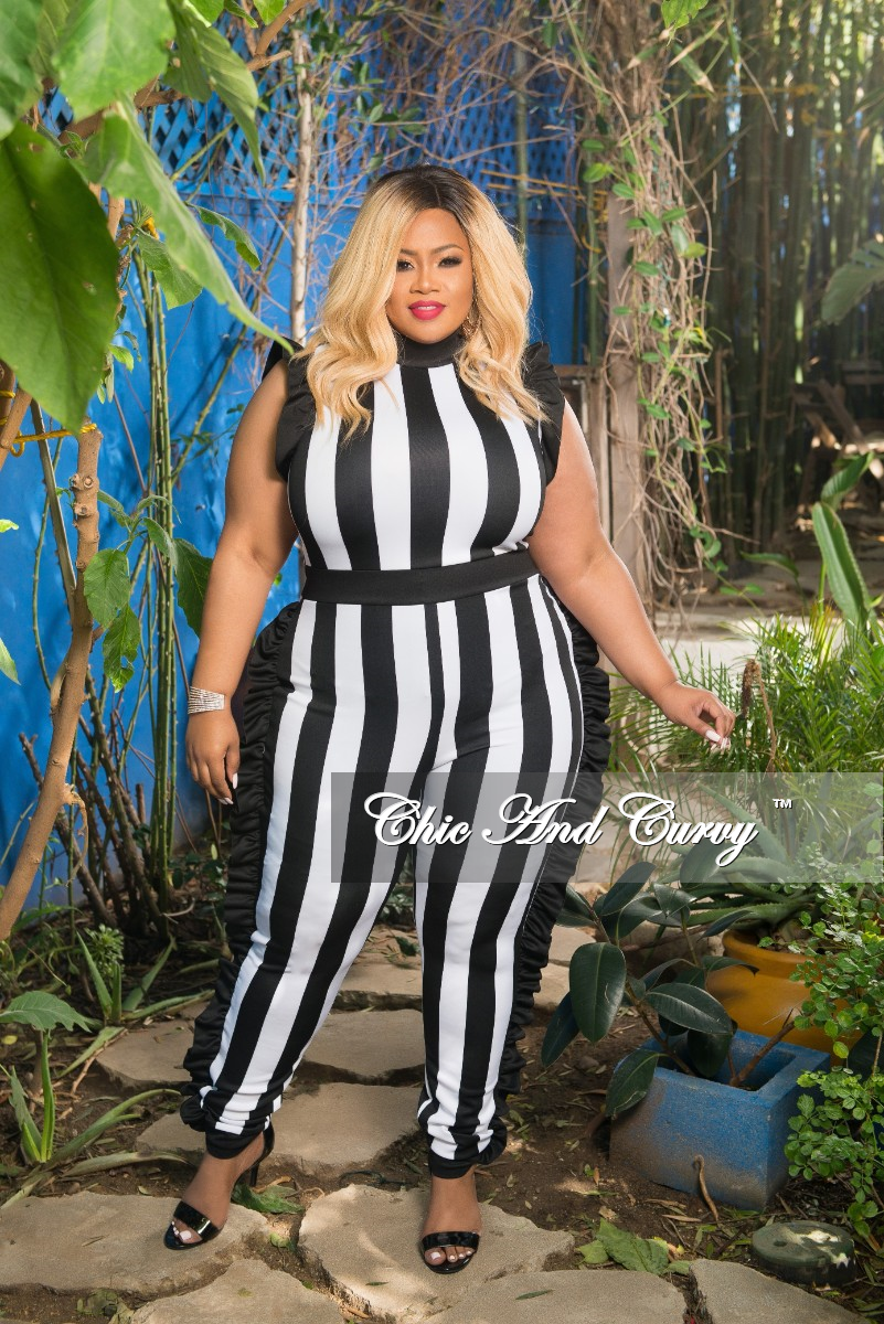 69dbb095840 Final Sale Plus Size Striped Jumpsuit with Ruffle Trim in Black and White