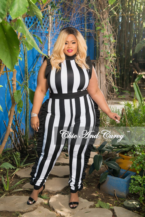 Final Sale Plus Size Striped Jumpsuit with Ruffle Trim in Black and White