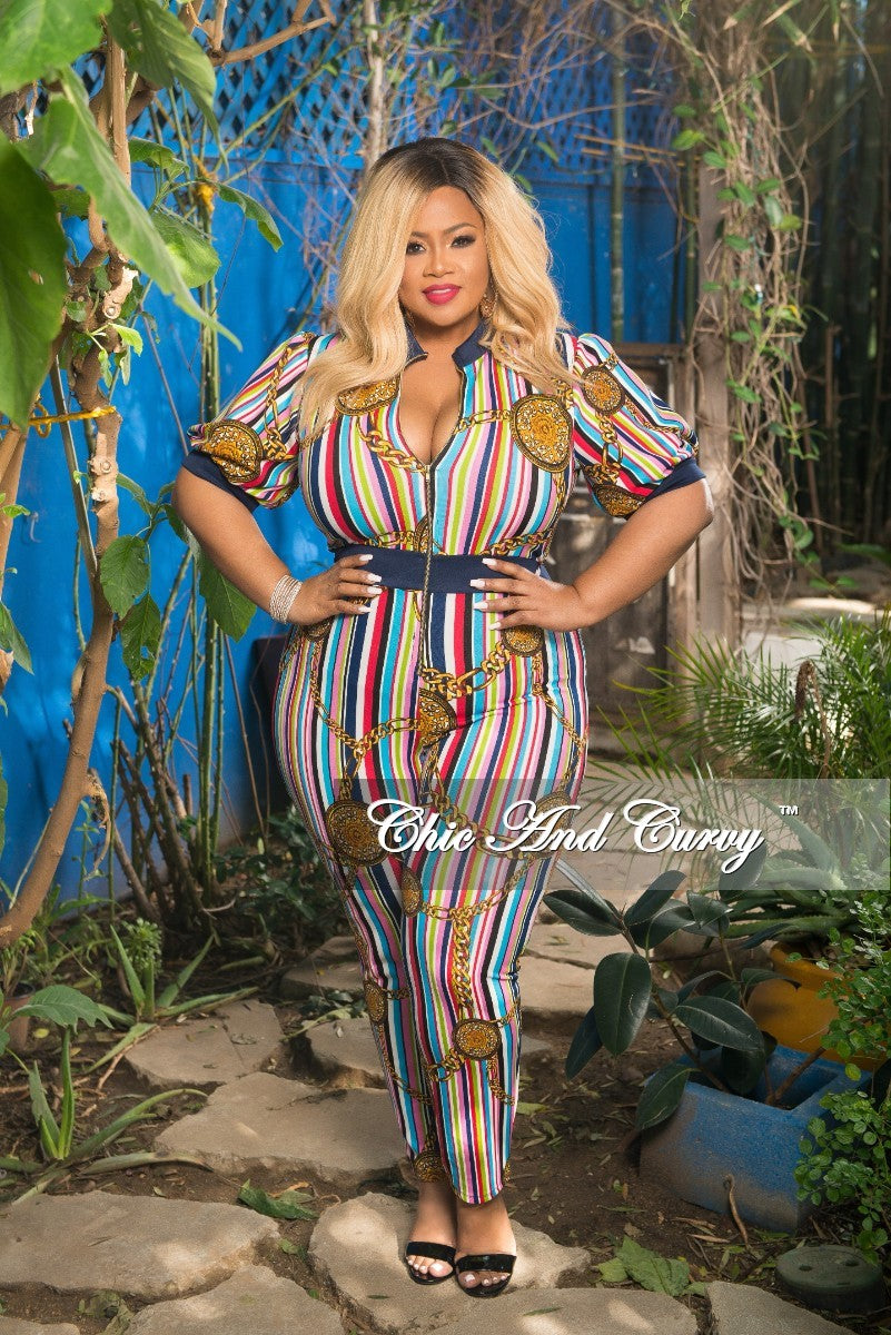 Final Sale Plus Size Chain Printed Jumpsuit with Front Gold Zipper in Stripe Multi Color Print