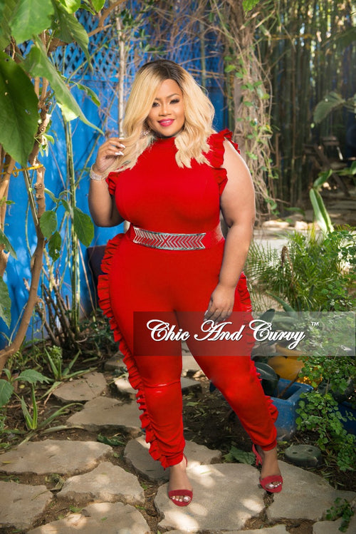 New Plus Size Jumpsuit with Ruffle Trim and Back Zipper in Red