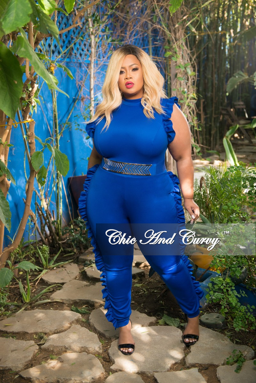 Final Sale Plus Size Jumpsuit with Ruffle Trim and Back Zipper in Royal Blue