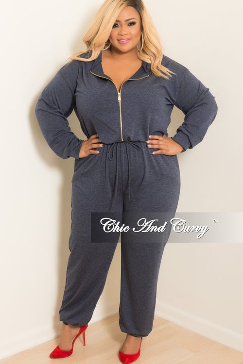 New Plus Size Hooded Jumpsuit with Front Zipper in Navy
