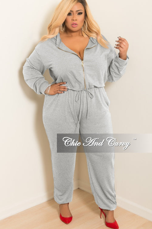 Final Sale Plus Size Hooded Jumpsuit with Front Zipper in Grey