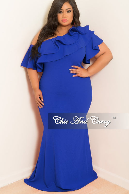 New Plus Size One Sided Off the Shoulder Ruffle Dress in Royal Blue