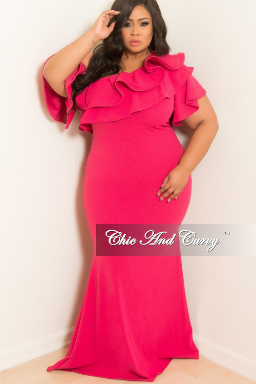 New Plus Size One Sided Off the Shoulder Ruffle Dress in Hot Pink