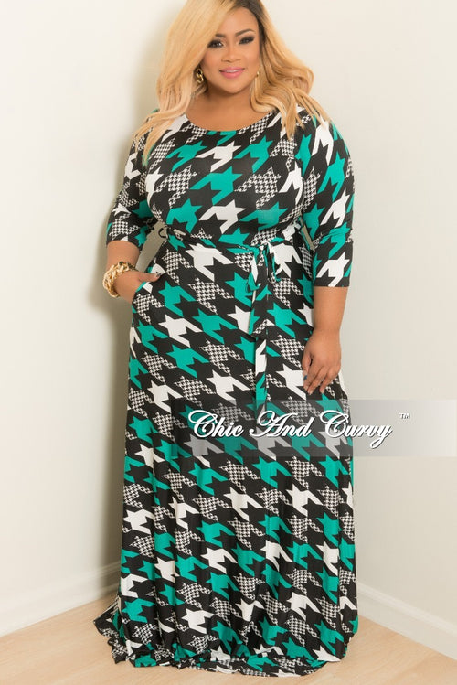 New Plus Size Long Dress with 3/4 Sleeve, Side Pockets, and Tie in Teal White and Black Print