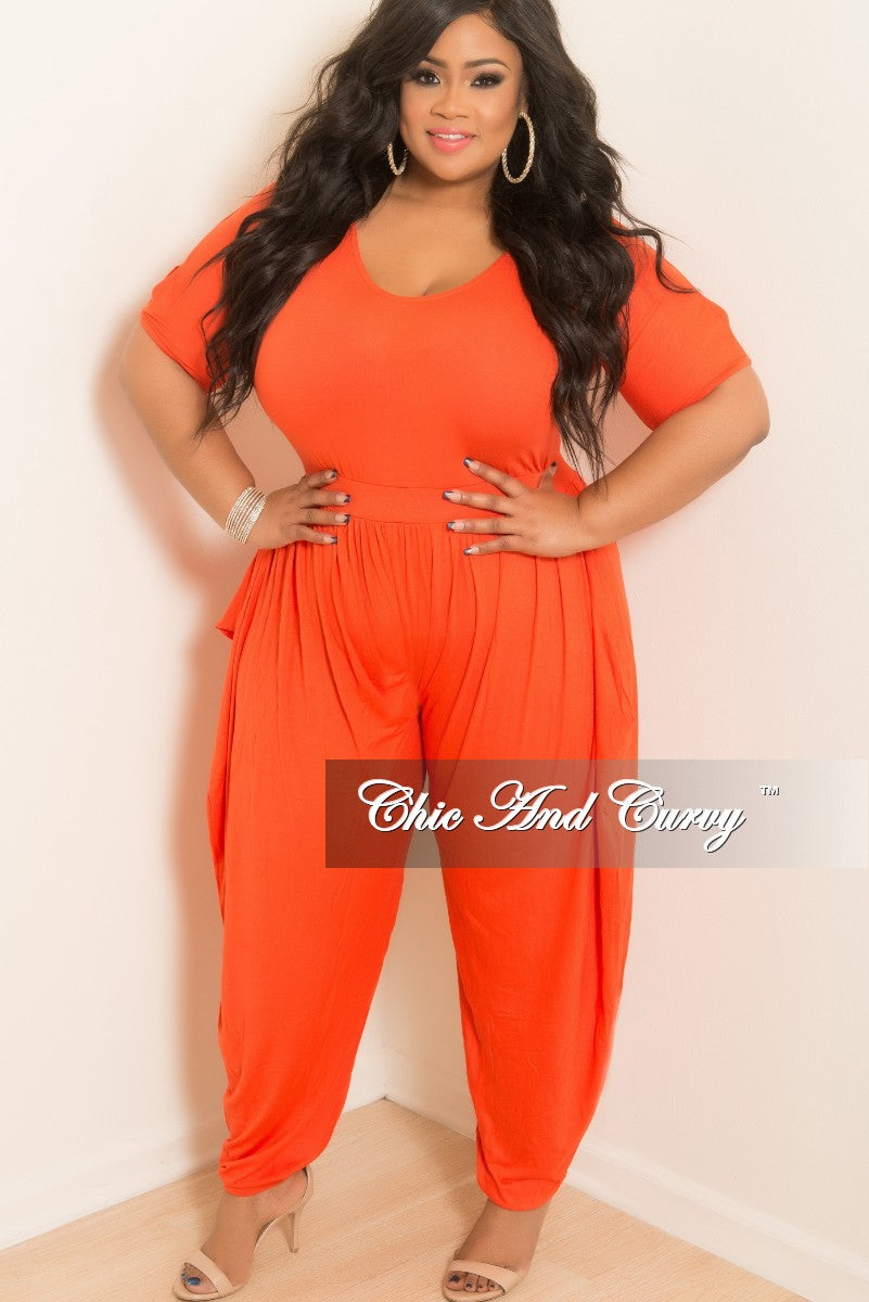 New Plus Size Harem Jumpsuit with Short Split Sleeves in Orange