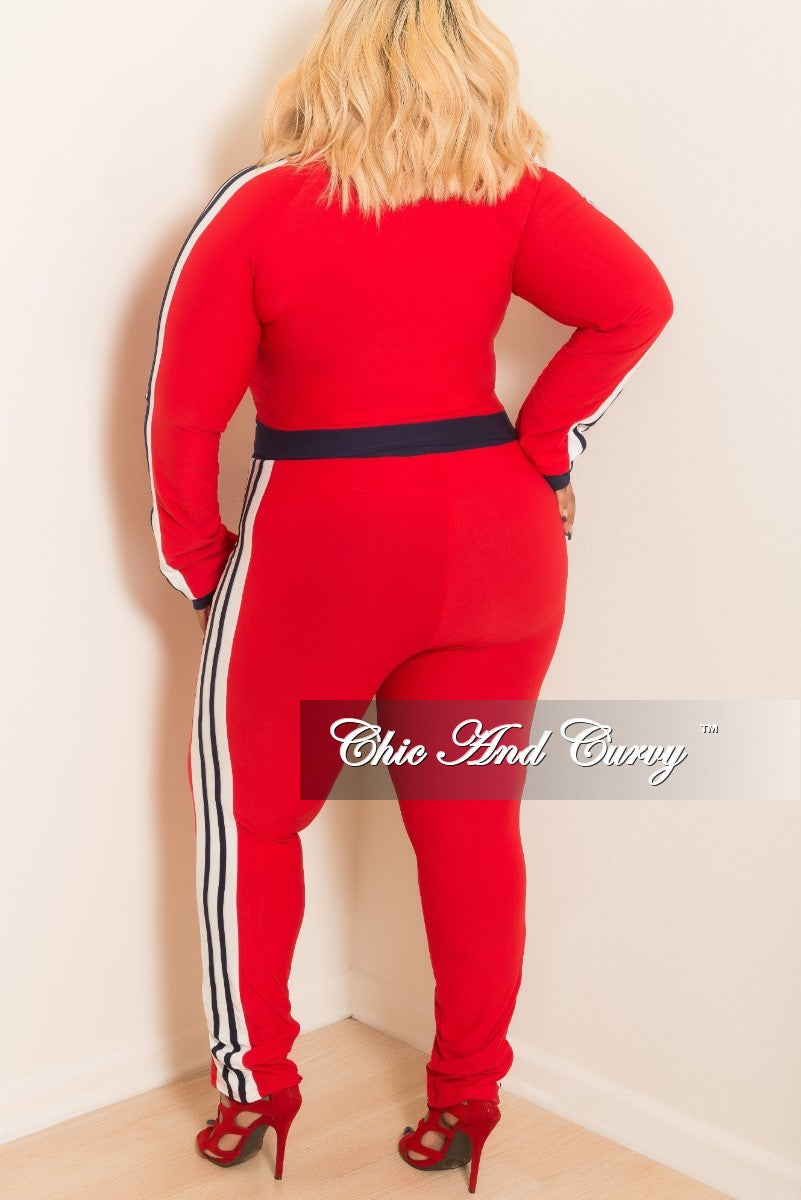 New Plus Size 2-Piece Zip Up Pull Over Top and Pants Set with White and Navy Trim in Red