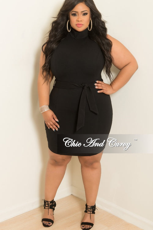 Final Sale Plus Size Sleeveless Turtle Neck BodyCon Dress with Attached Tie and Sliver back Zipper in Black