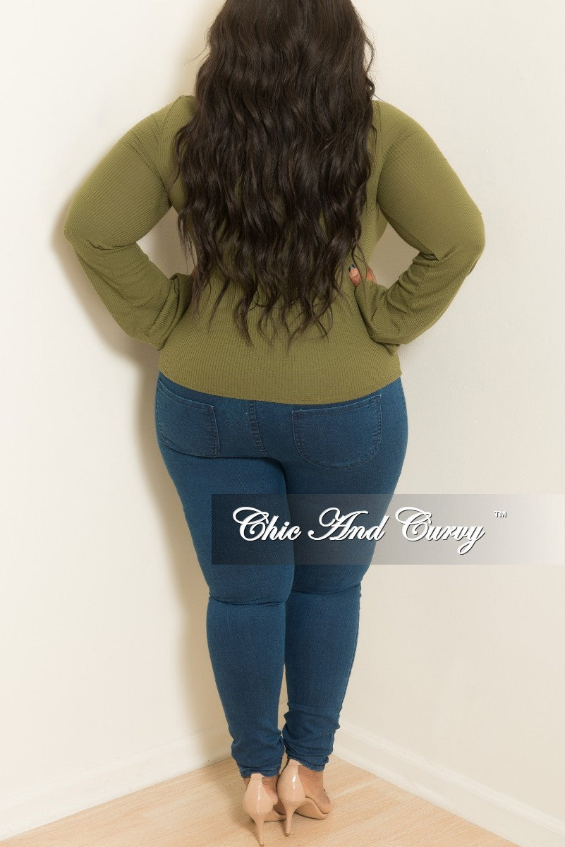 New Plus Size Long Sleeve Top with Front Cutout in Olive