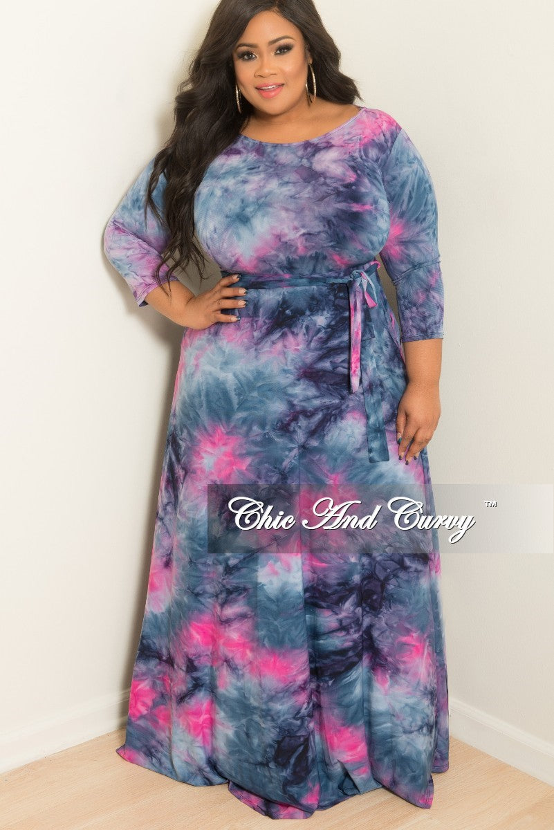 In Purple Plus Size Maxi Dress with Sleeves