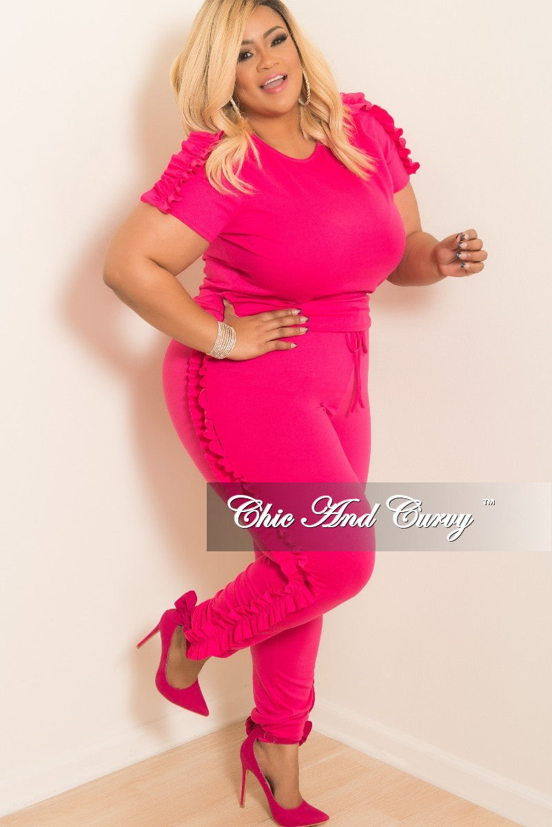 New Plus Size 2-Piece Short Sleeve Ruffle Top and Jogging Pants Set in Hot Pink