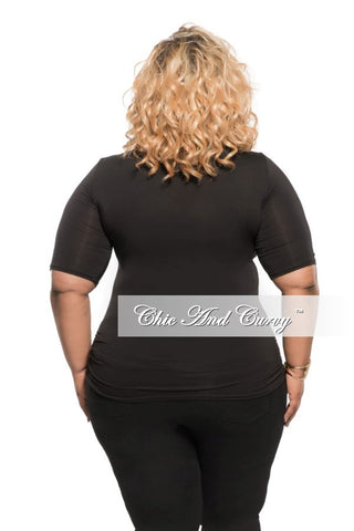 New Plus Size Top with Front Cutouts in Black