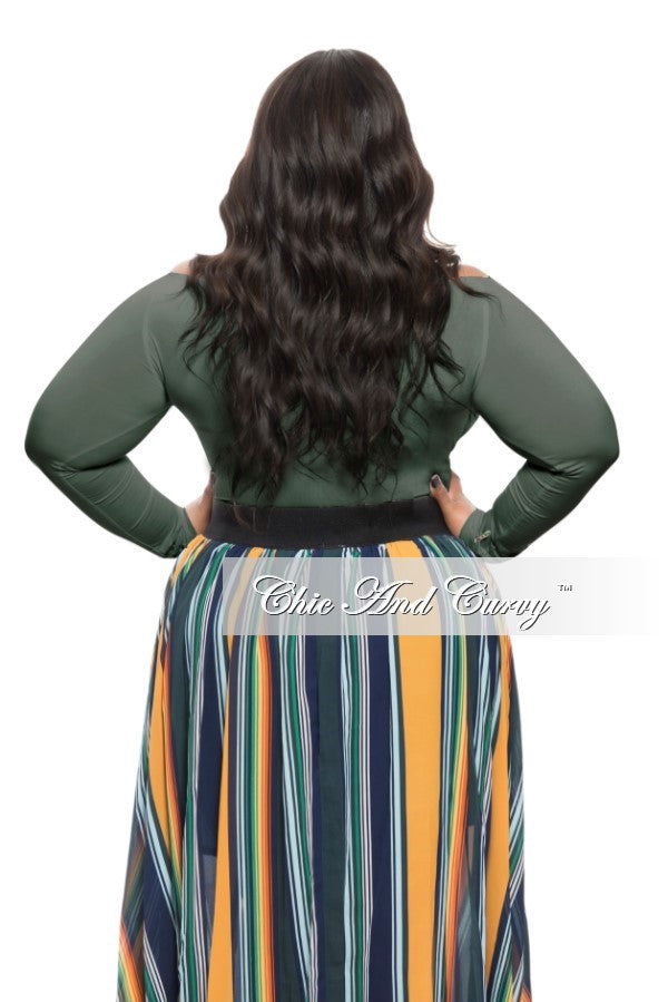 Final Sale Plus Size Off the Shoulder Top in Olive Green