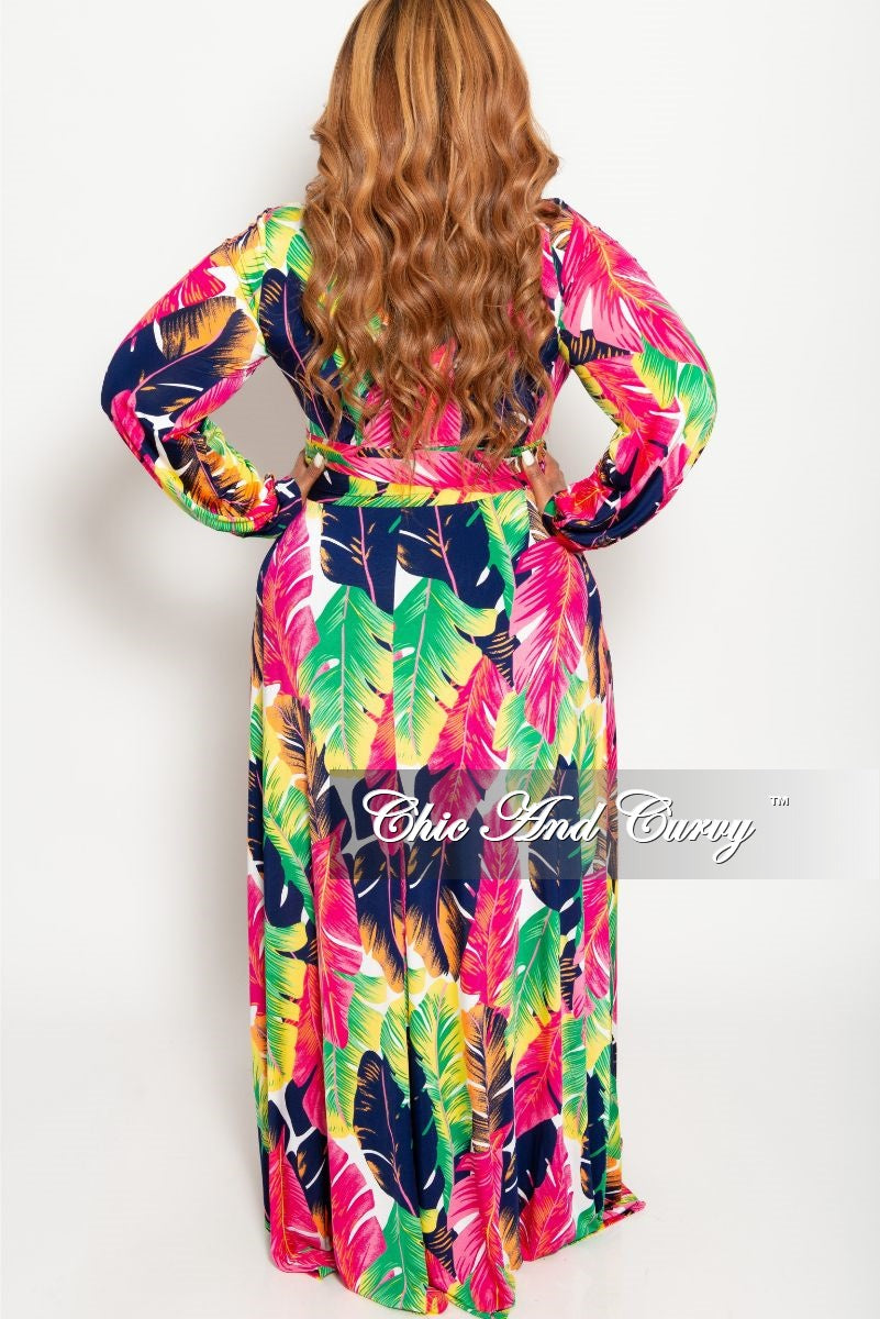New Plus Size Long Sleeve Faux Wrap Dress in Fuchsia Multi Color Leaf Print