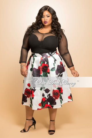 New Plus Size Flare Skirt in  White and Floral Print