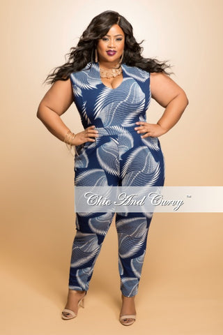New Plus Size Sleeveless Jumpsuit in  Dark Blue and Beige Print