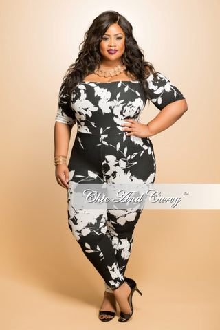 New Plus Size Off the Shoulder Jumpsuit in  Black and White Print