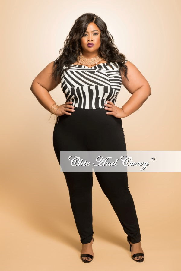New Plus Size Off the Shoulder Sleeveless Jumpsuit in Black and White