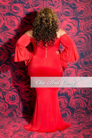 New Plus Size BodyCon Gown with Bell Sleeves in Red