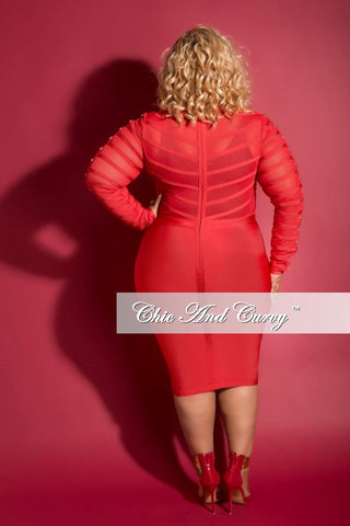 Final Sale (Seasonal) Plus Size BodyCon Mesh Panel Dress with Sheer Top in Red
