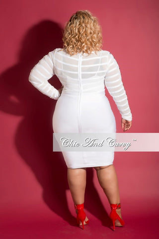 Final Sale (Seasonal) Plus Size BodyCon Mesh Panel Dress with Sheer Top in White