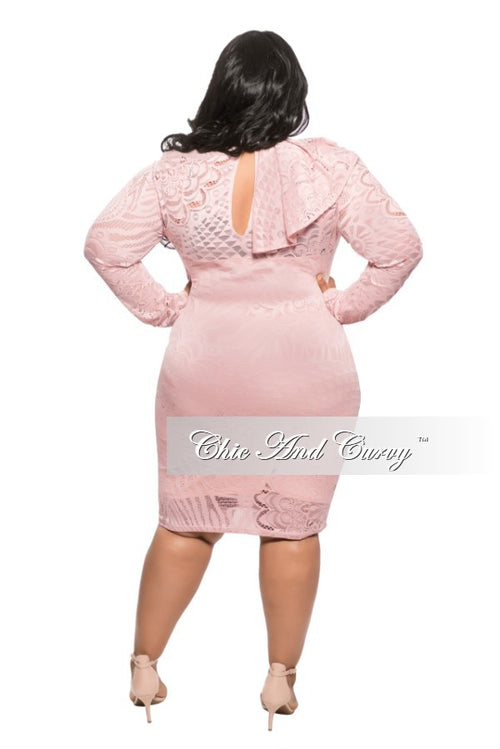 Final Sale  Plus Size BodyCon Dress with Lace Design and Collar Ruffle in Peach