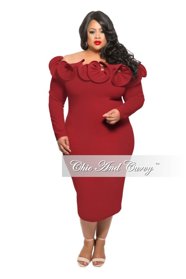 Final Sale New Plus Size BodyCon Rosette Dress with Full Ruffle Collar in Burgundy