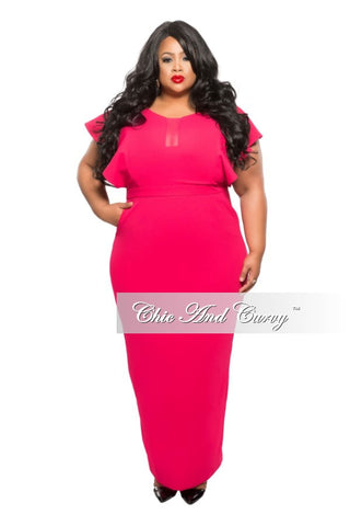 New Plus Size Long Dress with Sheer Center and Pockets in Magenta